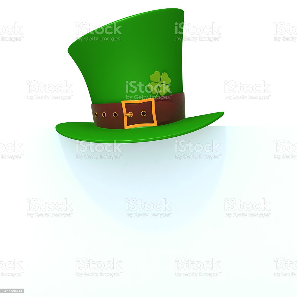 St. Patrick's day green hat of a leprechaun panel stock photo