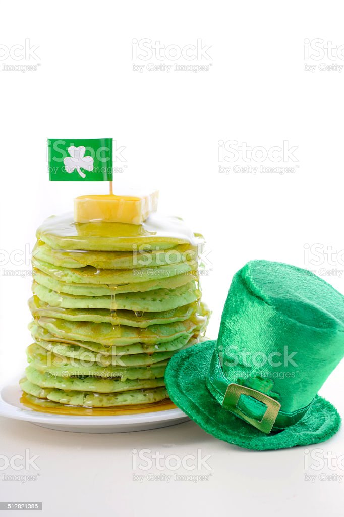 St Patricks Day green pancakes stock photo
