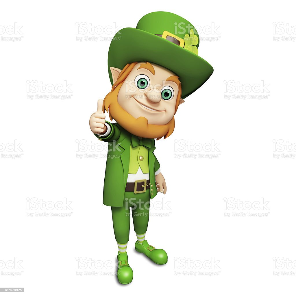 St. Patrick's Day Leprechaun on green background stock photo