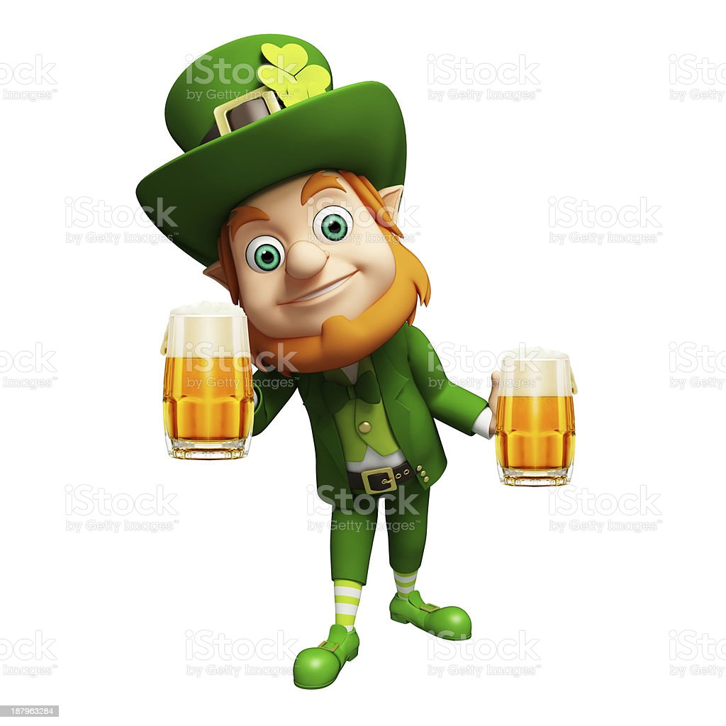 St. Patrick's Day Leprechaun with beer glass stock photo