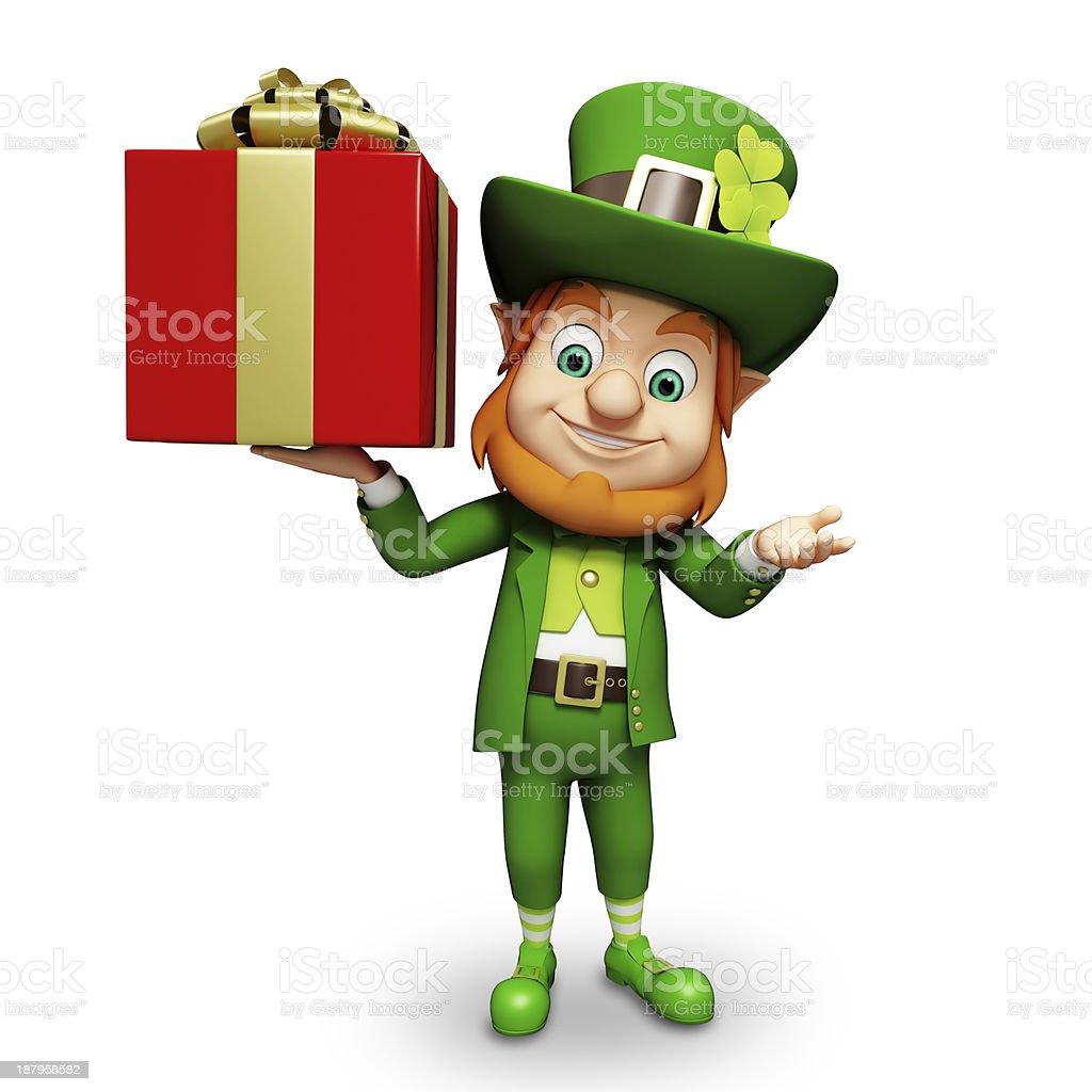 St. Patrick's Day Leprechaun with gift box stock photo