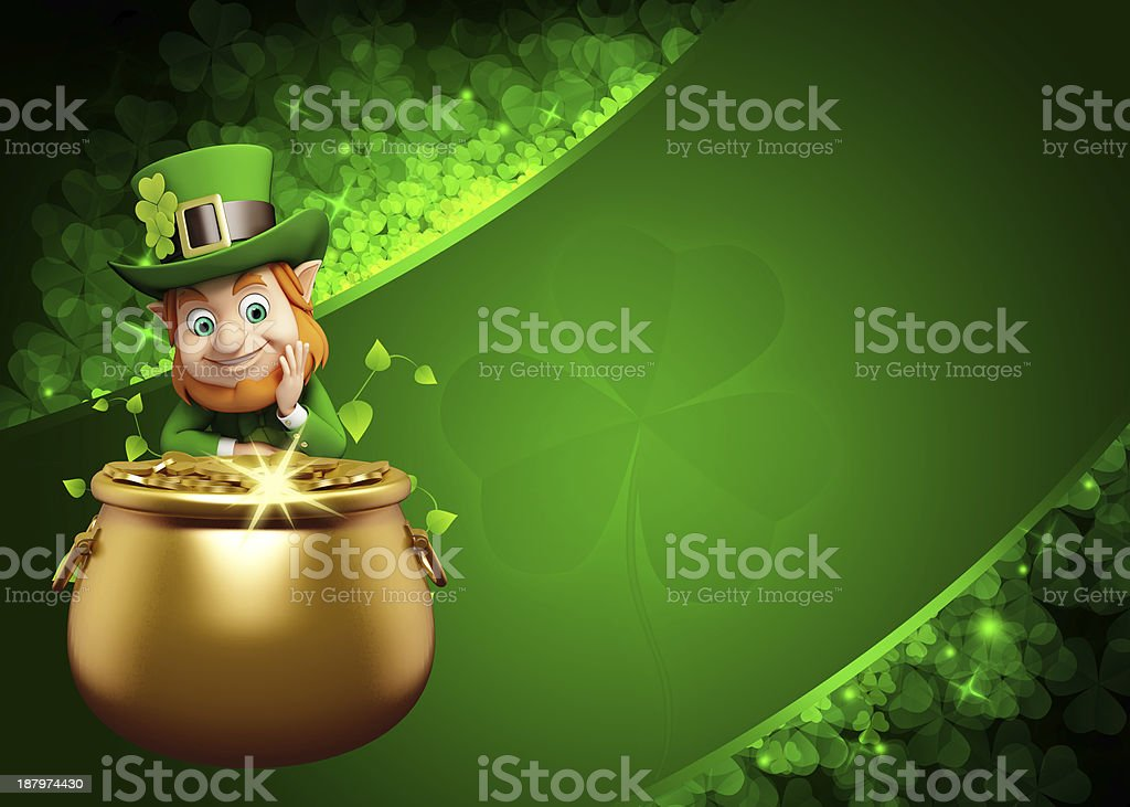 St. Patrick's Day Leprechaun with golden pot stock photo