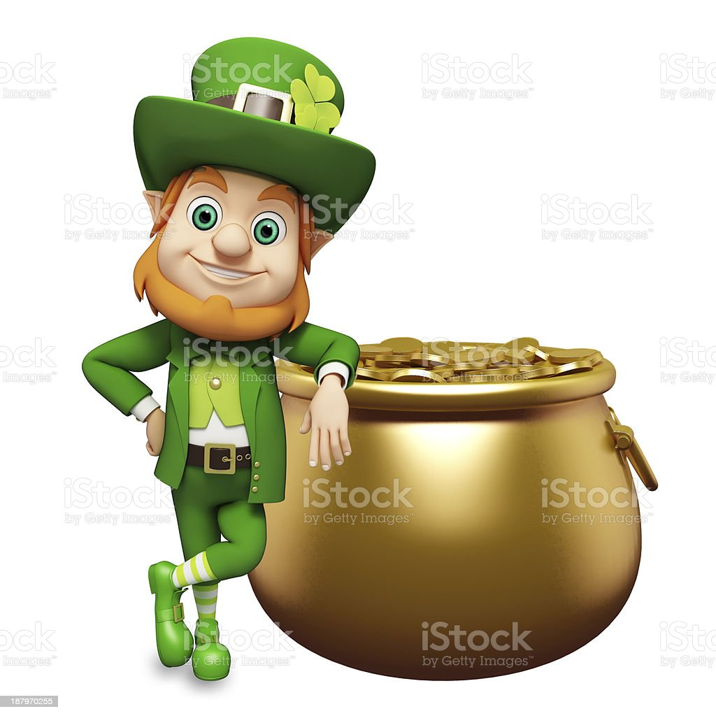 St Patrick's Day leprechaun with his pot of gold stock photo