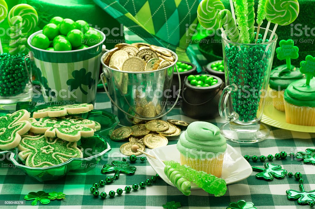 St. Patrick's Day Party Cupcake stock photo