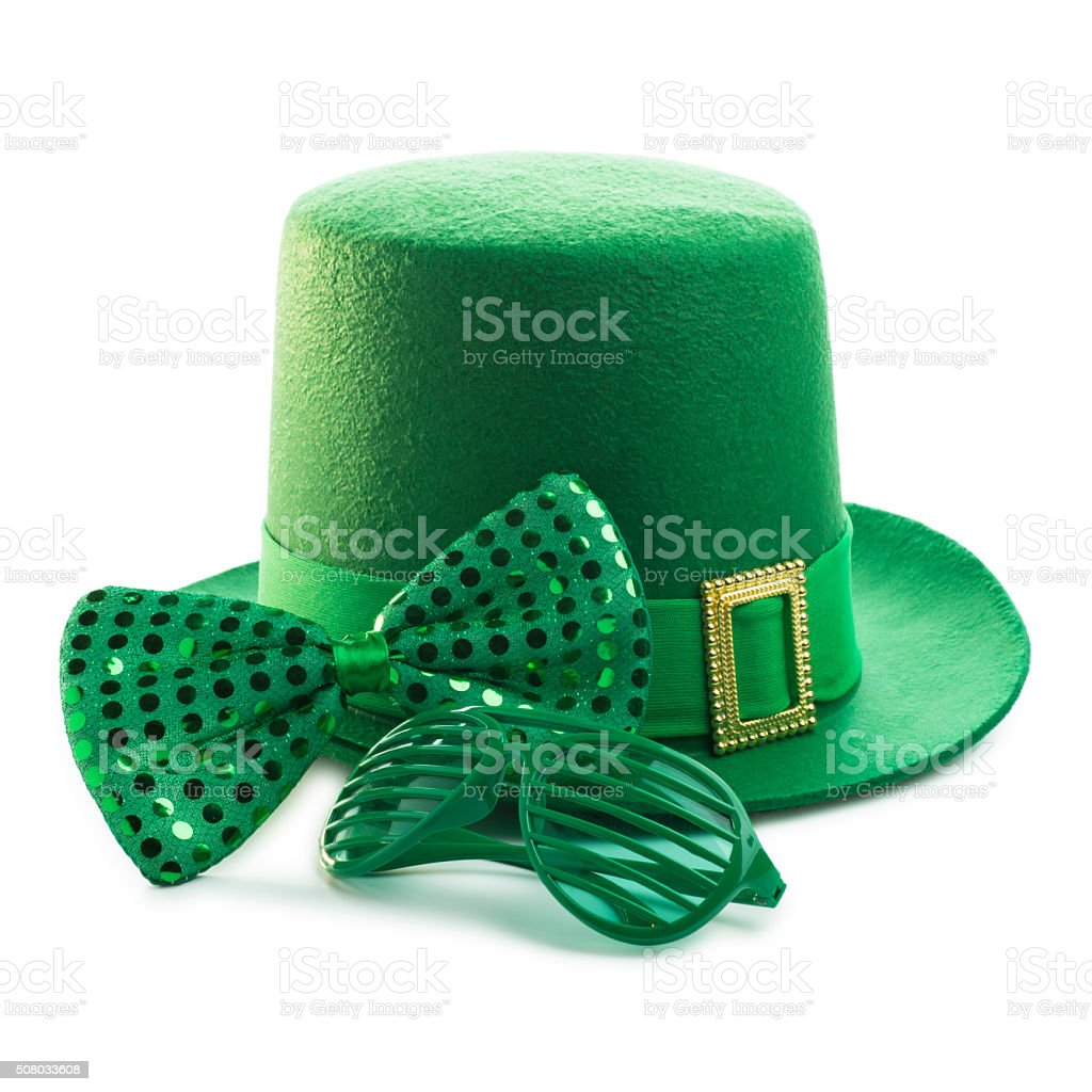 St. Patrick's Day Party Decorations on White Background stock photo