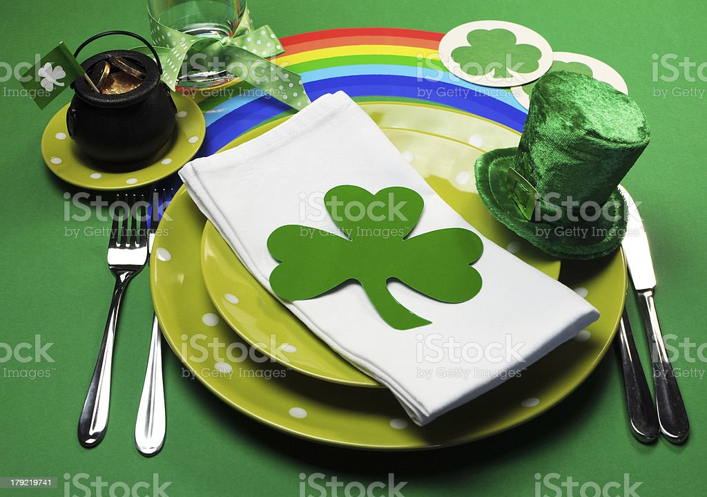 St Patrick's Day party table setting stock photo