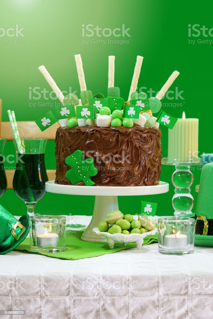 St Patricks Day Party Table with Chocolate Cake stock photo