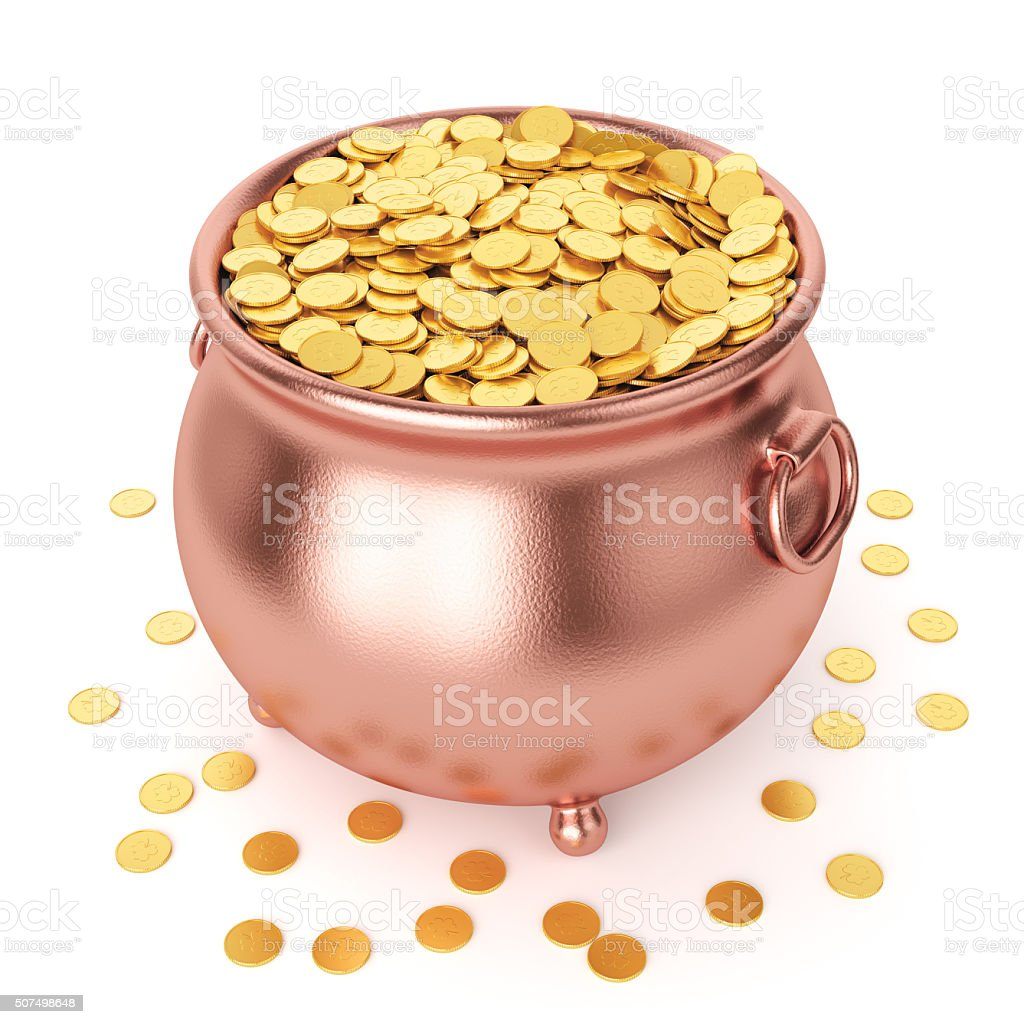St Patricks day pot with golden coins stock photo