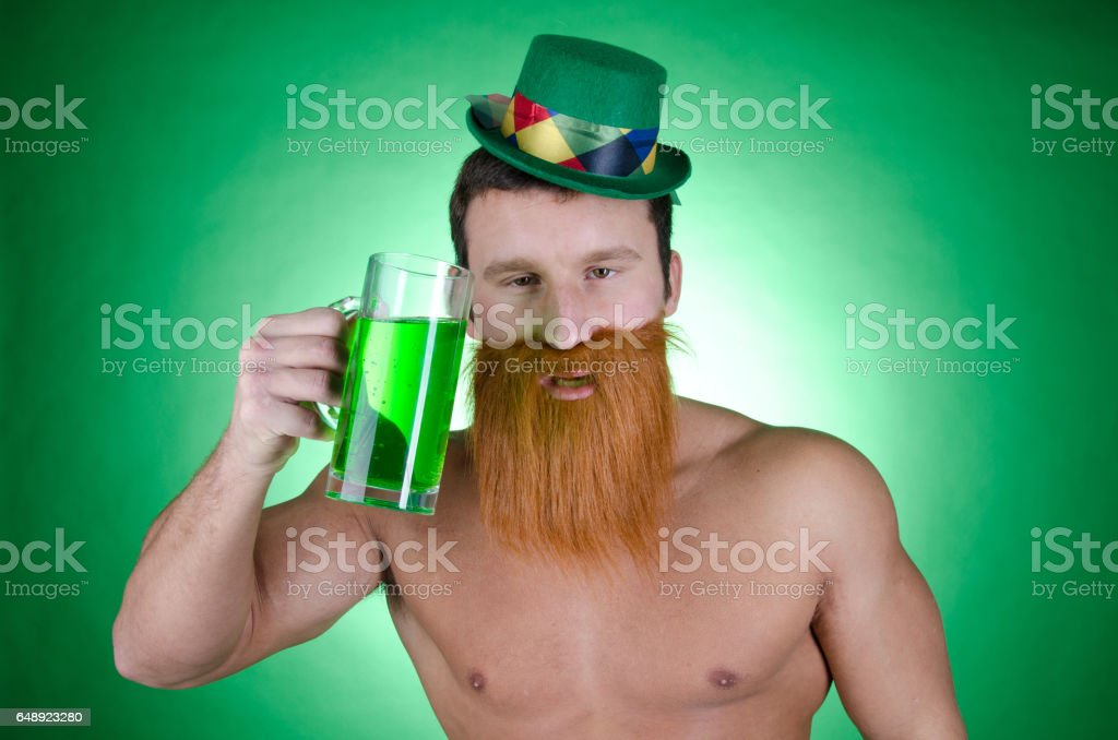 St. Patrick's day. The drunk man. stock photo