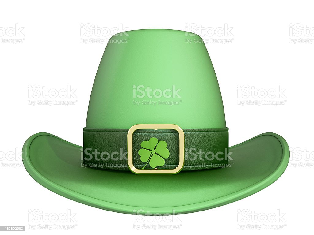St. Patrick's hat style cowboy, four-leaf clover in the buckle stock photo