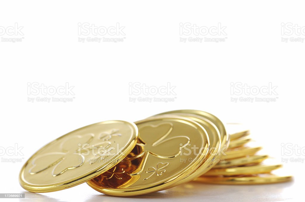 St Patty's gold coin stock photo