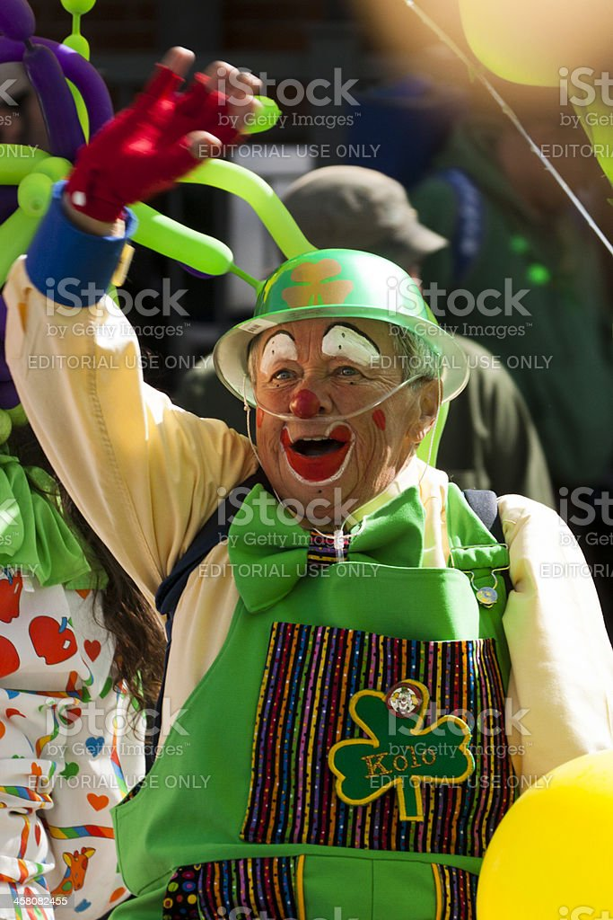 St. Patty's parade clown stock photo