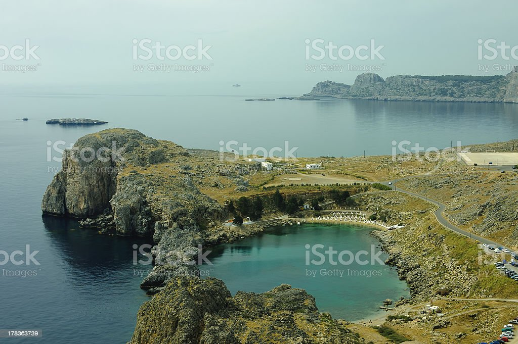 St. Paul bay blue lagoon in Lindos stock photo