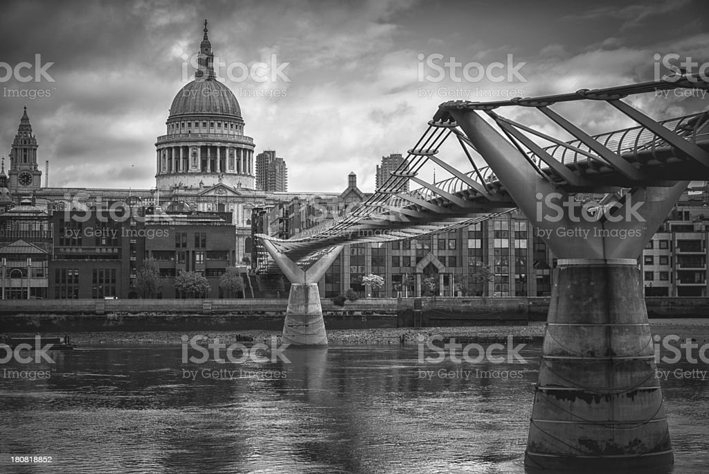 St. paul cathedral and millenium bridge royalty-free stock photo