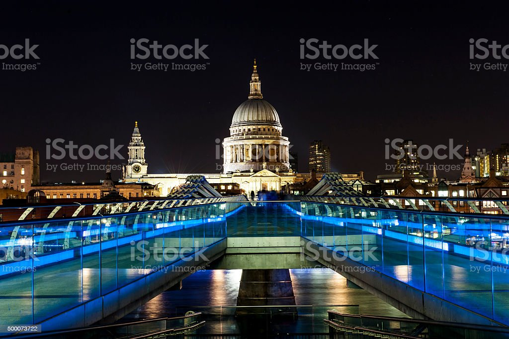 St. Paul Cathedral and Millennium Bridge in London stock photo