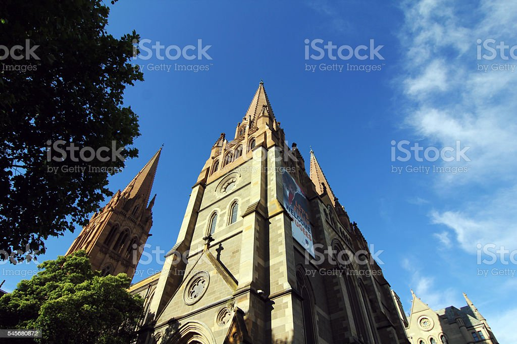 st paul cathedral at melbourne city center stock photo