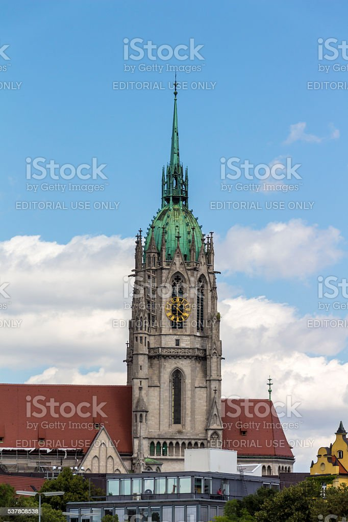 St. Paul Cathedral at Theresienwiese in Munich, 2015 stock photo