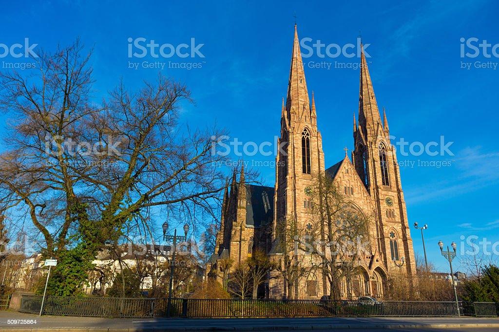 St. Paul Church in Strasbourg, Alsace, France stock photo