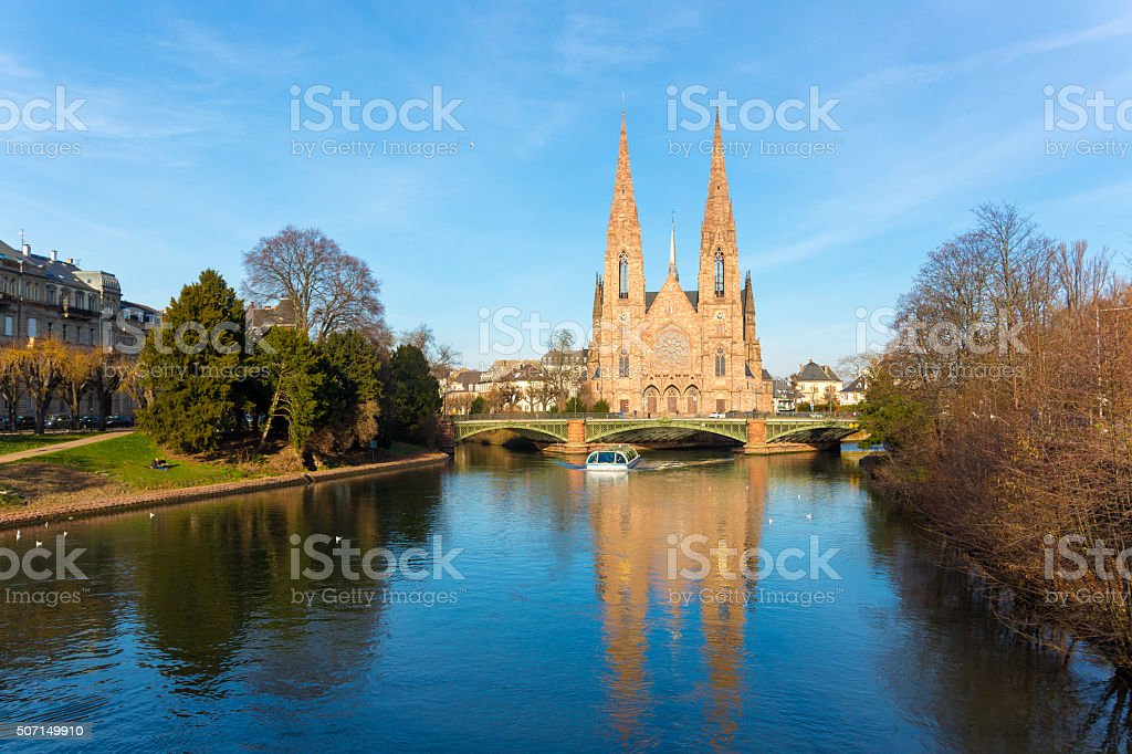 St. Paul Church  in Strasbourg and  Ill river.Alsace, France stock photo