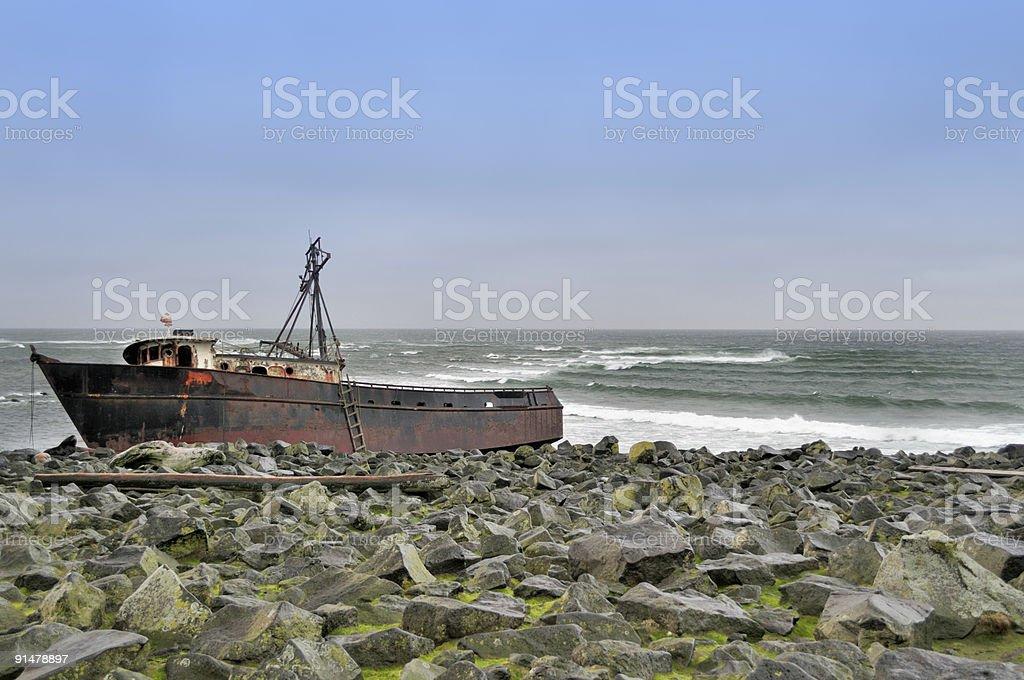 St Paul Island Shipwreck stock photo