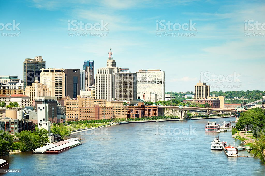 St. Paul, Minnesota Capital Downtown Skyline with Mississippi River Boats stock photo