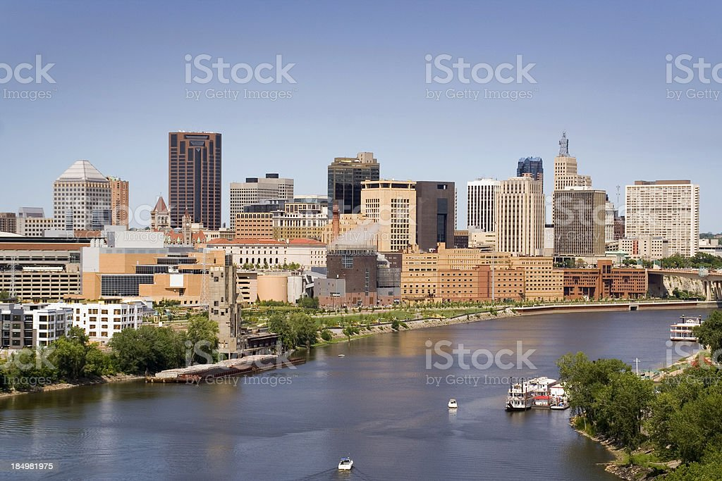 St. Paul, Minnesota Downtown City Urban Skyline and Mississippi River royalty-free stock photo