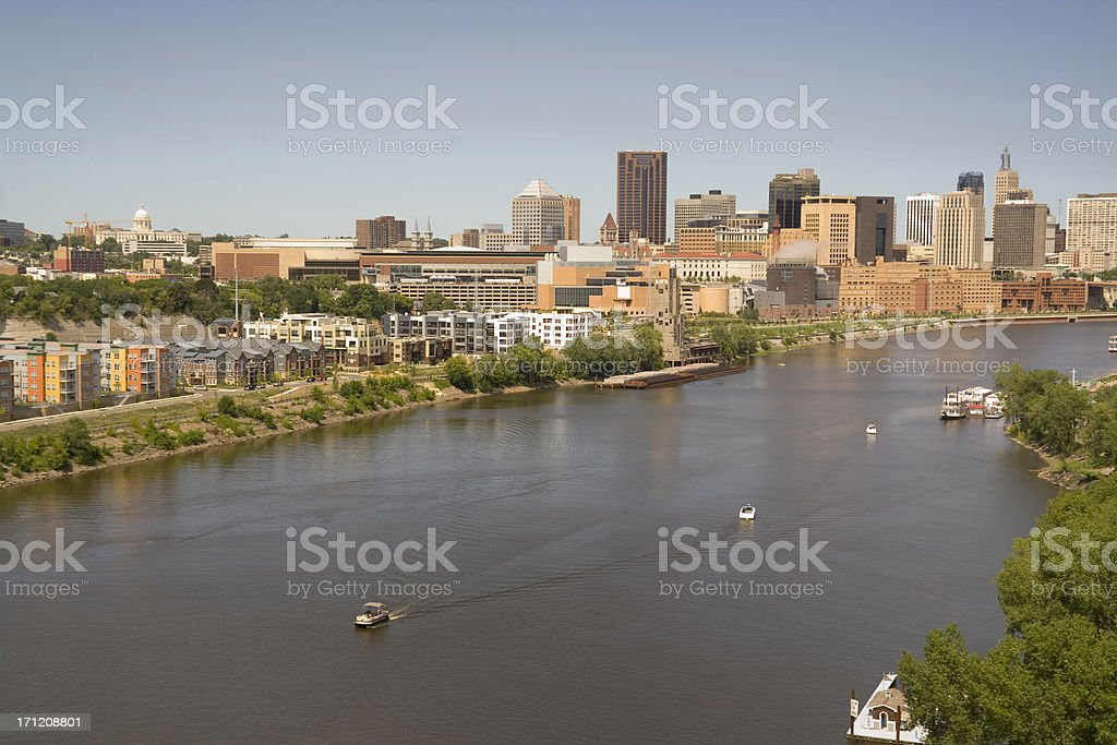 St. Paul, Minnesota Urban Skyline, Downtown View from Mississippi River royalty-free stock photo