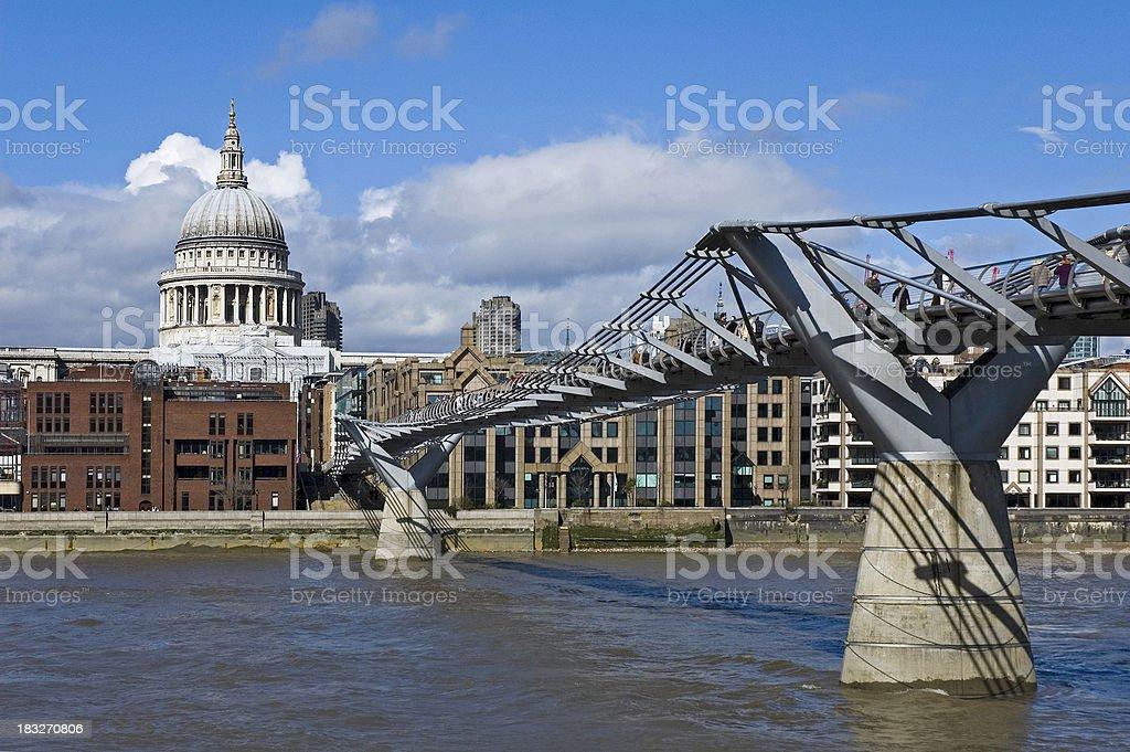 St Paul's and Millenium Bridge royalty-free stock photo