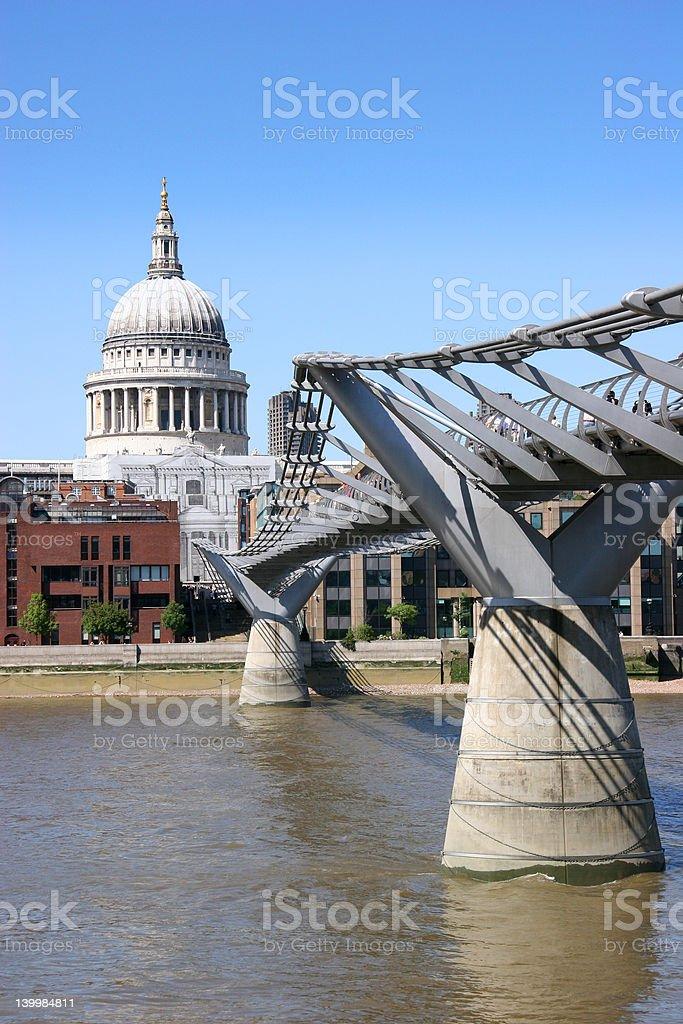 St Pauls and Millennium Bridge, London stock photo
