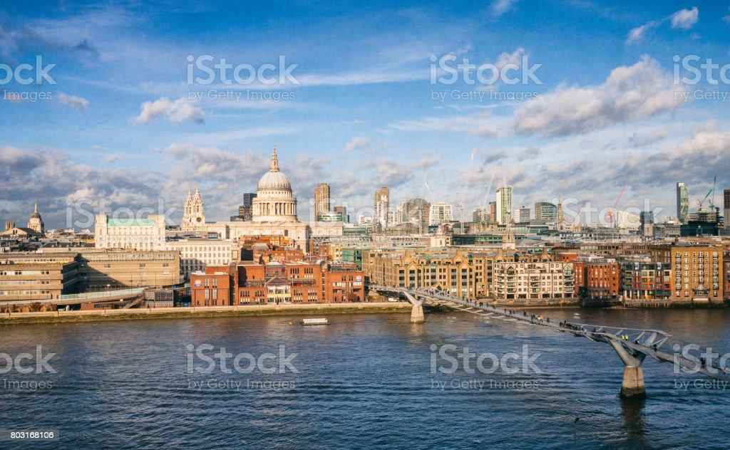 St Paul's And The Millennium Bridge In London stock photo