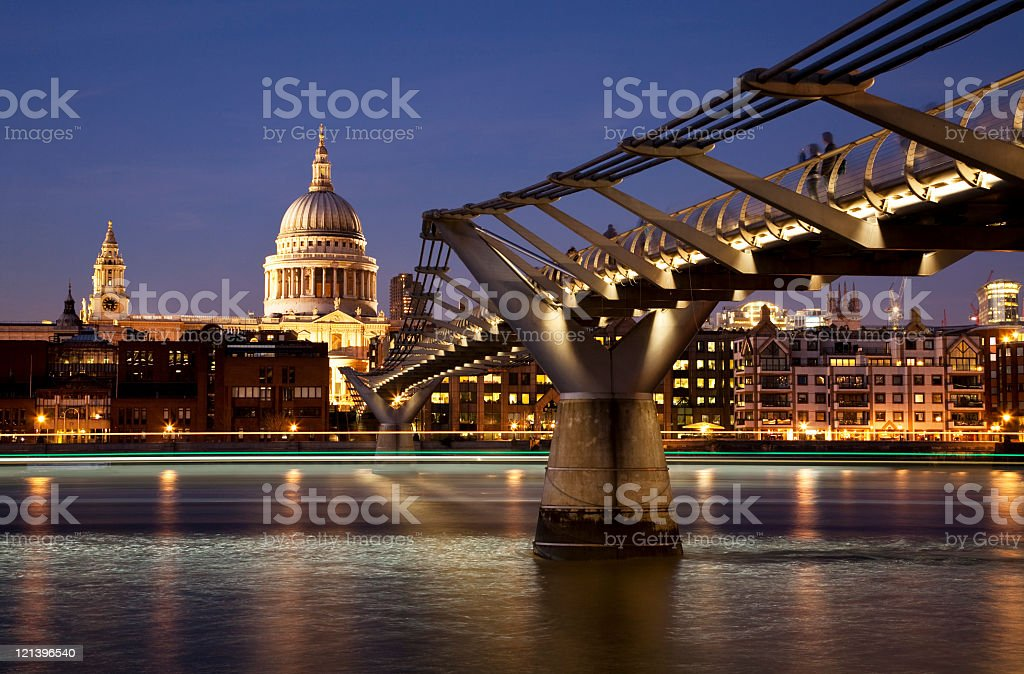 St Paul's and the Millennium Bridge royalty-free stock photo