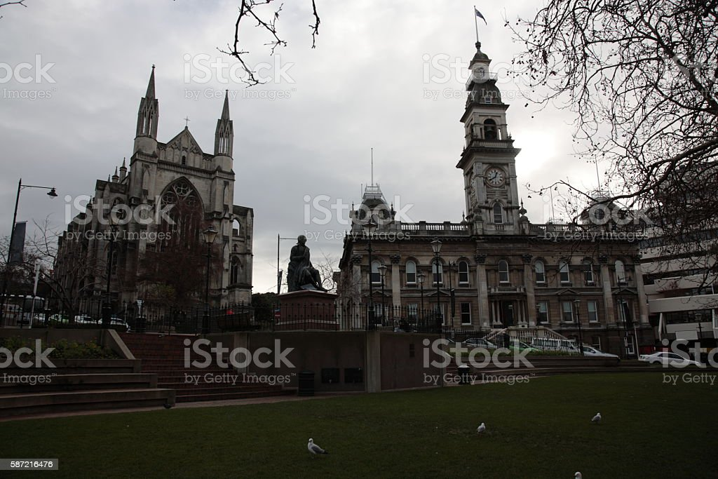 St Paul's Anglican Cathedral and Dunedin Town Hall, New Zealand stock photo