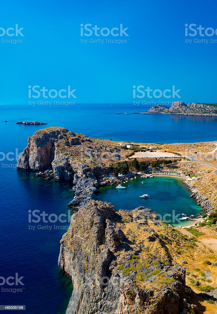 St Paul's Bay and the Acropolis of Lindos stock photo