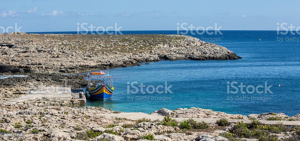 St Pauls Bay in Malta - overlooking  beautiful blue sea stock photo