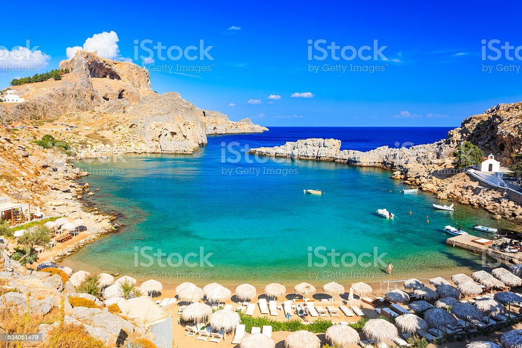St Pauls Bay Lindos stock photo