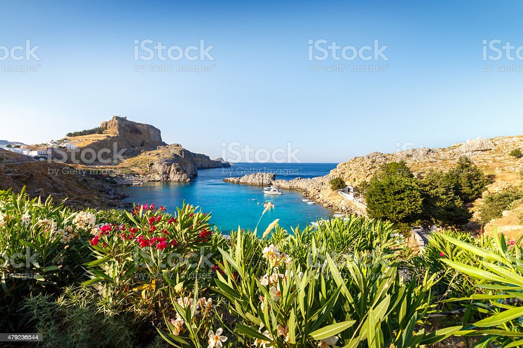 St. Paul's Bay Lindos Rhodos Griechenland stock photo