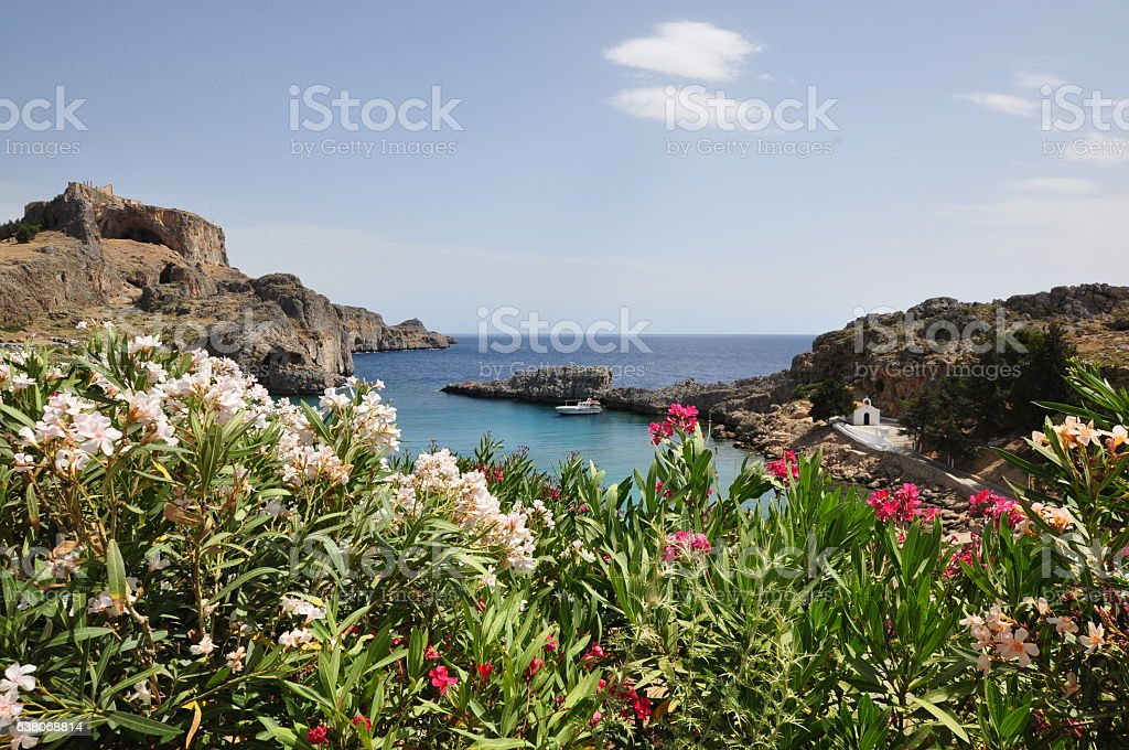 St. Paul's Bay, Lindos, Rhodes, Greece stock photo