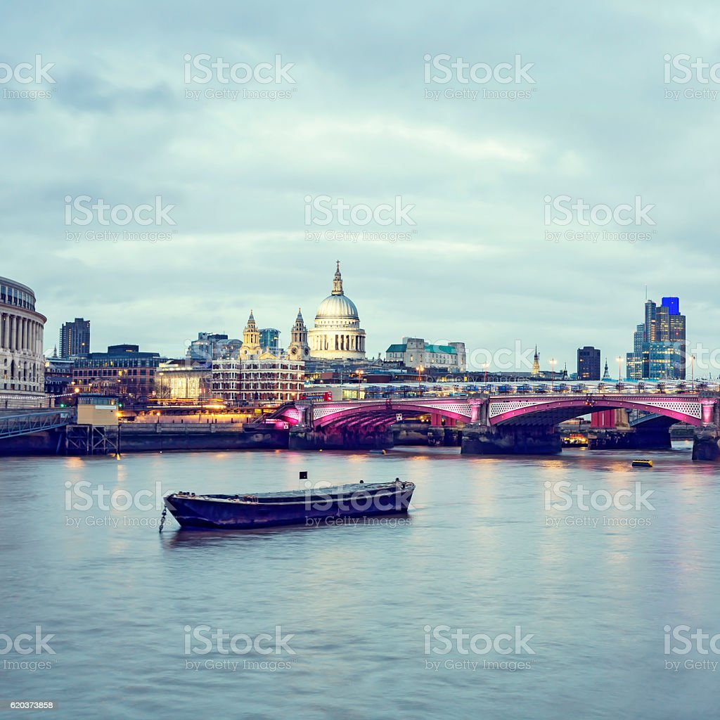 St Paul's Cathedral and Blackfriars Bridge in London at dusk stock photo