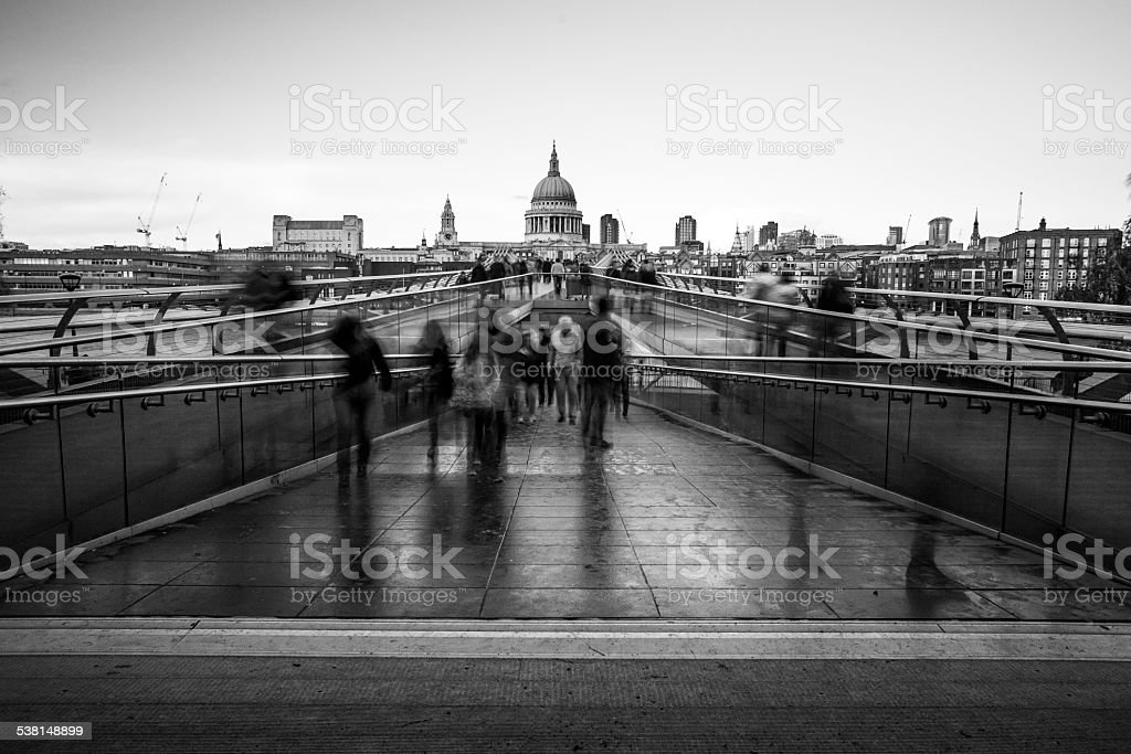 St Paul's Cathedral and Commuters Walking to work Millenium Bridge stock photo
