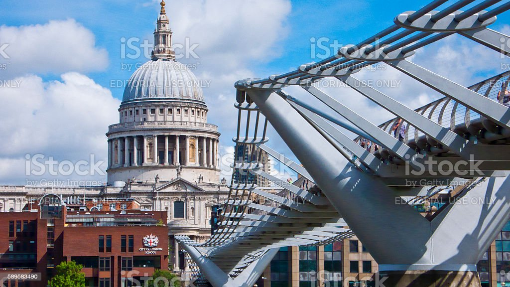 St. Paul's Cathedral and Millenium Foodbridge, London, England, United Kingdom. stock photo