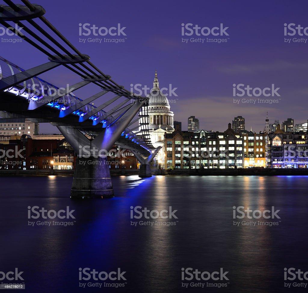 St Pauls Cathedral and Millinium Bridge stock photo