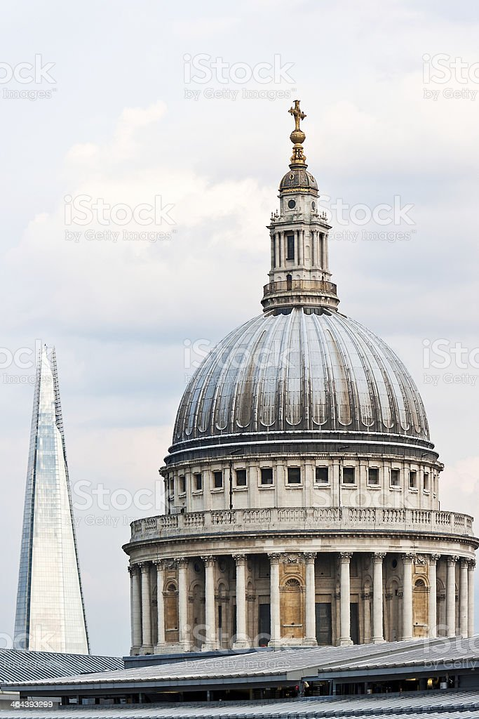St Paul's Cathedral and Shard in the distance royalty-free stock photo