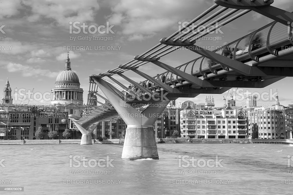 St Paul's Cathedral and the Millennium Footbridge, London, UK stock photo