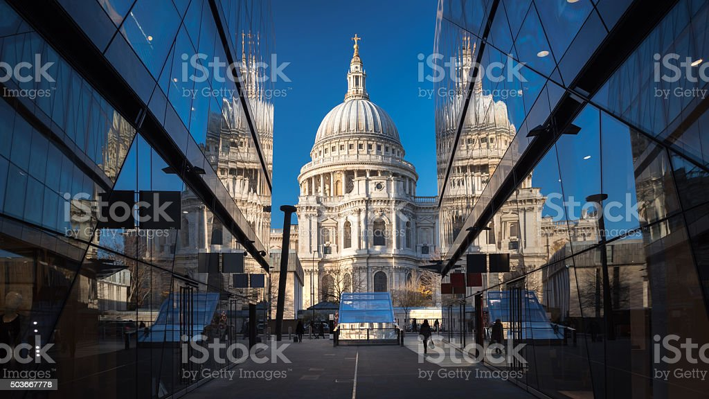 St Paul's Cathedral and the reflections stock photo