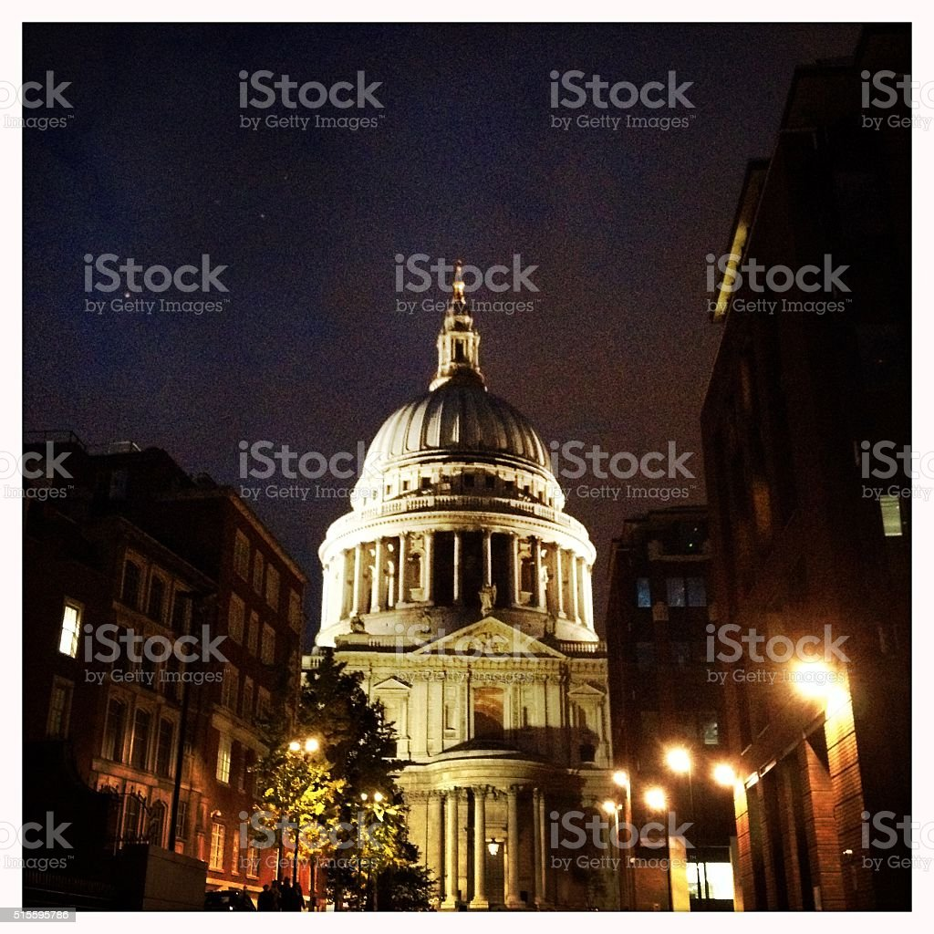 St. Paul's Cathedral at dusk, London, UK stock photo