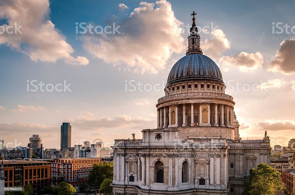 St Paul's cathedral at sunset in London, England stock photo