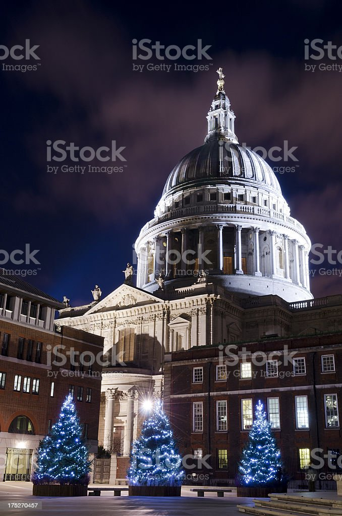 St Paul's Cathedral, Christmas in London royalty-free stock photo