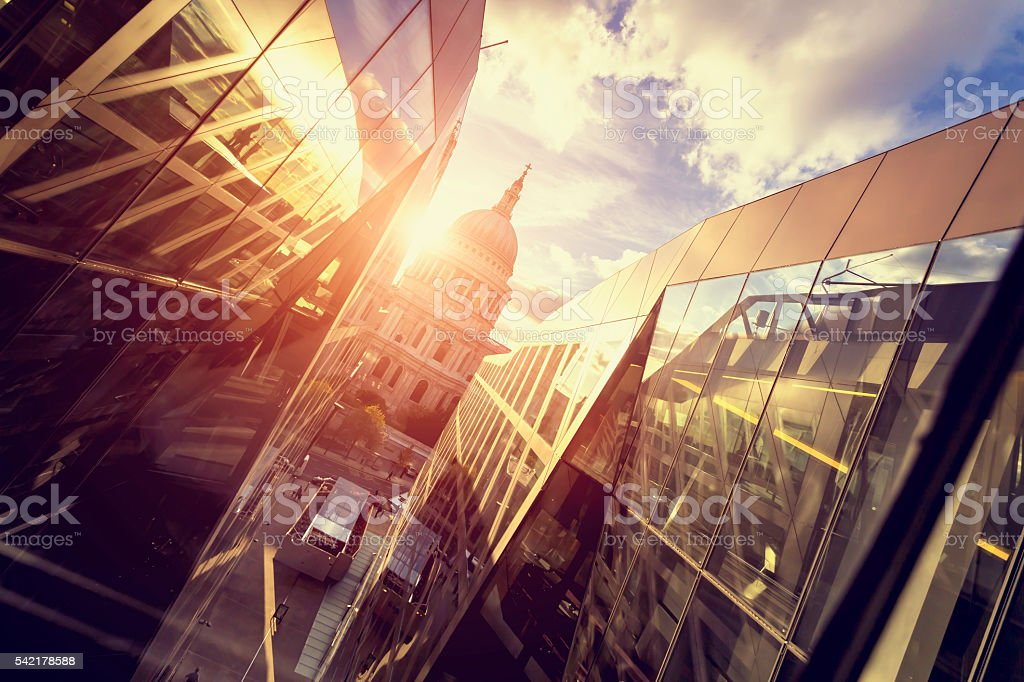 St Paul's Cathedral dome at sunset In London stock photo