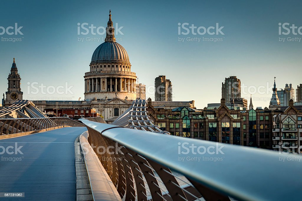 St. Pauls cathedral dome from across the river Thames stock photo