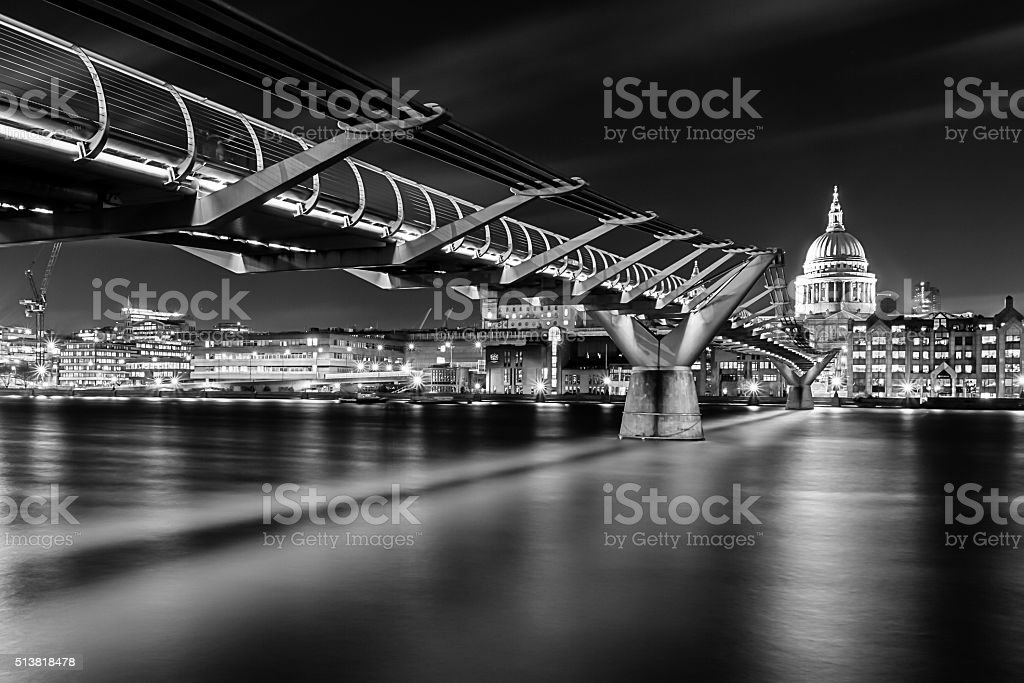 St Paul's Cathedral from the London Millennium Bridge at night stock photo
